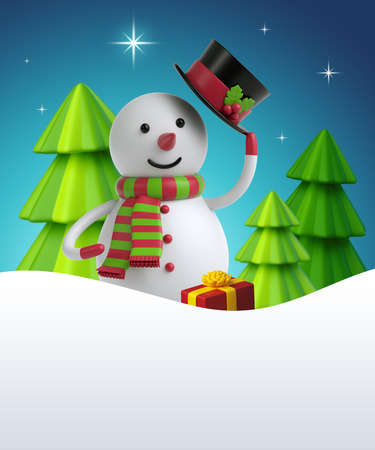 3d render, digital illustration, cartoon snowman, christmas trees, polar star, silent night, holiday background