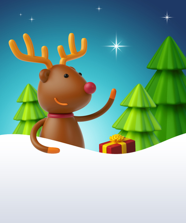 christmas star background: 3d render, cartoon deer, christmas trees, polar star, silent night, holiday background Stock Photo