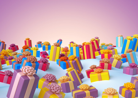 holiday gifts: 3d render, Christmas greeting card, holiday colorful wrapped gifts background