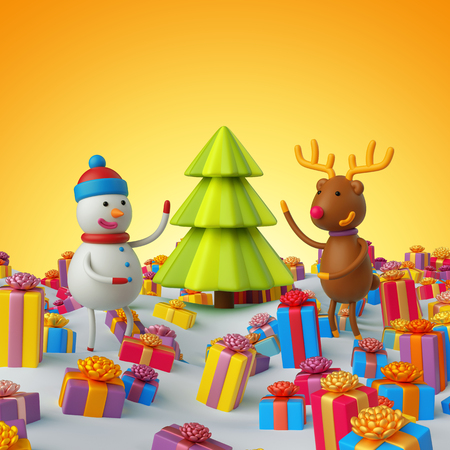 3d render, 3d illustration, snowman and deer, Christmas tree, Christmas greeting card, holiday gifts background