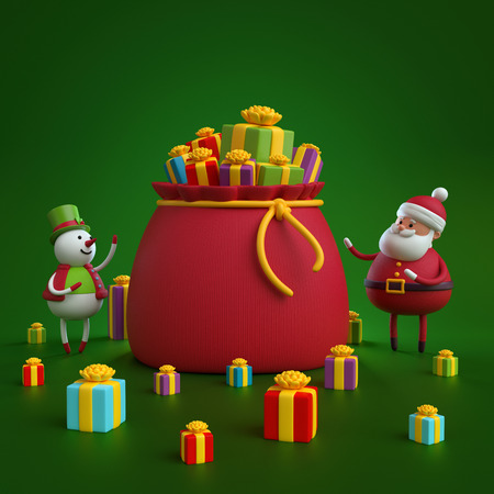 3d render, snowman and santa claus bag with Christmas gifts, holiday background