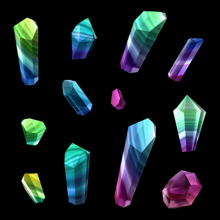 nuggets: 3d render, digital illustration, polished crystals, beautiful gemstones, rough nuggets, cut agate, minerals set, design elements isolated on black background
