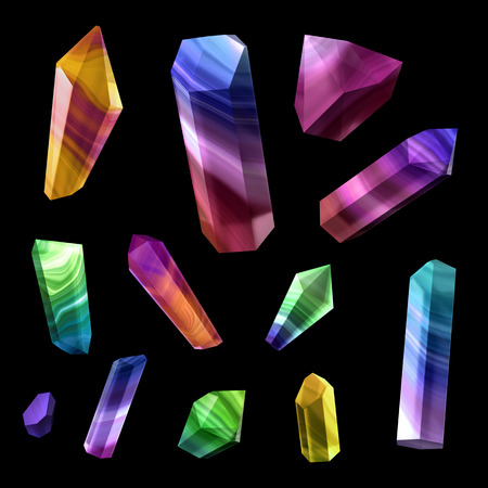 nuggets: 3d render, digital illustration, multicolor polished crystals, beautiful gemstones, gem, jewels, rough nuggets, cut agate, minerals set, design elements isolated on black background Stock Photo