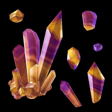 3d render, digital illustration, polished crystals, beautiful gemstones, rough nuggets, cut agate, minerals set, design elements isolated on black background