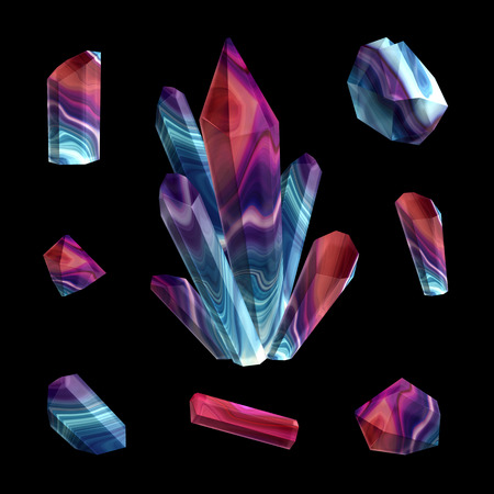 nuggets: 3d render, digital illustration, red blue polished crystals, beautiful gemstones, gem, jewels, rough nuggets, cut agate, minerals set, design elements isolated on black background