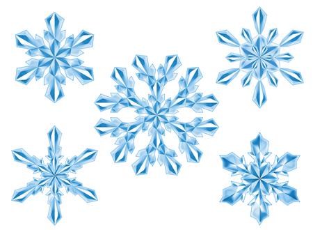 conjunto de copo de nieve de cristal, año nuevo, Navidad, imágenes prediseñadas de invierno, aisladas sobre fondo blanco, ilustración digital