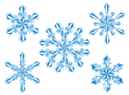 crystal snowflake set, New Year, Christmas, winter clip art, isolated on white background, digital illustration