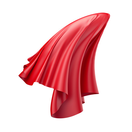 red cloth: 3d render, digital illustration, abstract folded cloth, flying, falling, soaring fabric, unveil, red curtain, textile cover, isolated on white background