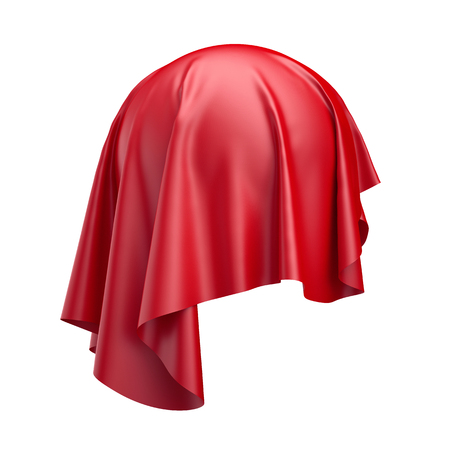 3d render, digital illustration, abstract folded cloth, soaring fabric, unveil, spherical red curtain, textile cover, isolated on white background Stock Photo