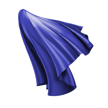 soaring: 3d render, digital illustration, abstract folded cloth, flying, falling, soaring fabric, unveil, blue textile cover, curtain isolated on white background