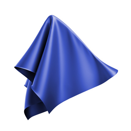 unveil: 3d render, digital illustration, abstract folded cloth, flying, falling, soaring fabric, unveil, blue textile cover, curtain isolated on white background