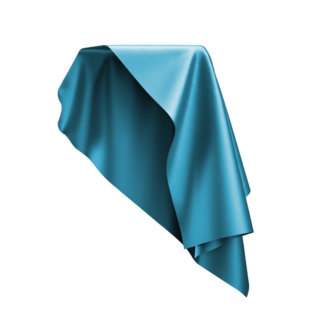 soaring: 3d render, digital illustration, abstract folded cloth, flying, falling, soaring fabric, unveil, blue curtain, textile cover, isolated on white background Stock Photo