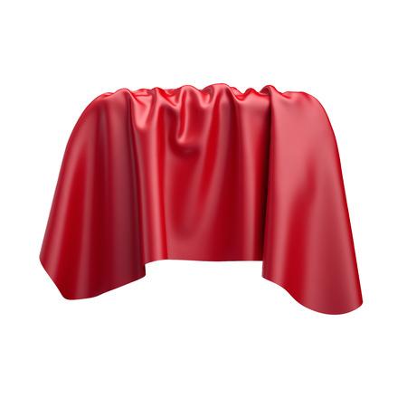 tela blanca: 3d, ilustración digital, tela doblada abstracta, tela alza, cortina roja, cubierta textil, aislado en fondo blanco