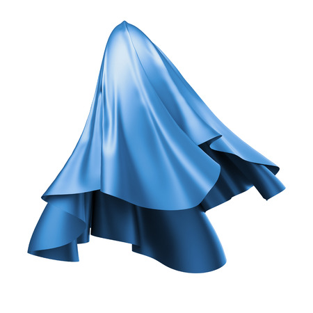business cloth: 3d render, digital illustration, abstract folded cloth, flying, falling, soaring fabric, unveil, blue textile cover, curtain isolated on white background