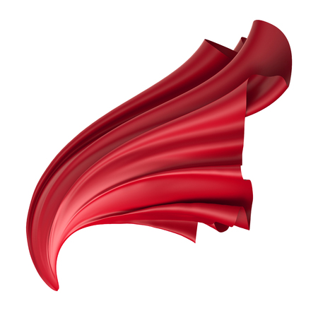 tela seda: 3d, ilustración digital, tela doblada abstracto, volar, caer, el alza de la tela, desvelar, cortina roja, cubierta textil, aislado en fondo blanco