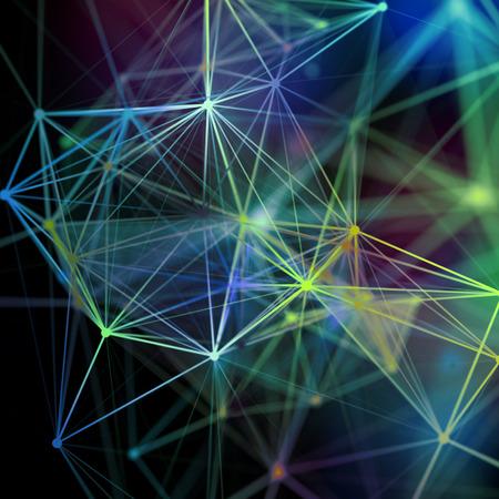 3d render, abstract background, plexus, constellation, nebula, neuron network