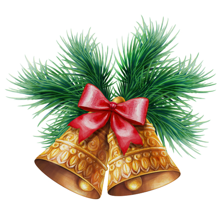 Christmas bells with pine branches, watercolor illustration isolated on white background