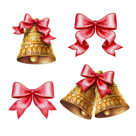 Christmas bells and bows clip-art set isolated on white background, watercolor illustration