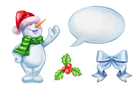 cor: Christmas clip-art set isolated on white background, snowman, holly, bow, talking balloon watercolor illustration Stock Photo