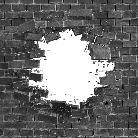 wall: 3d black broken brick wall background, hole isolated