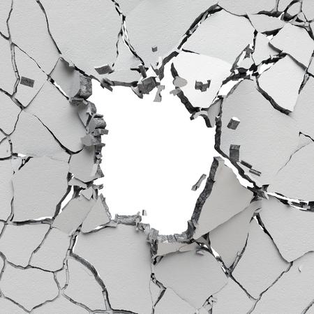 3d gebroken muur achtergrond, beton gat geïsoleerd
