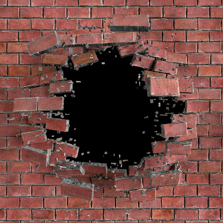 blown: 3d red broken brick wall background, hole isolated