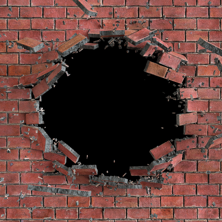 3d red broken brick wall background, hole isolated