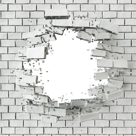 broken wall: 3d white broken brick wall background, hole isolated