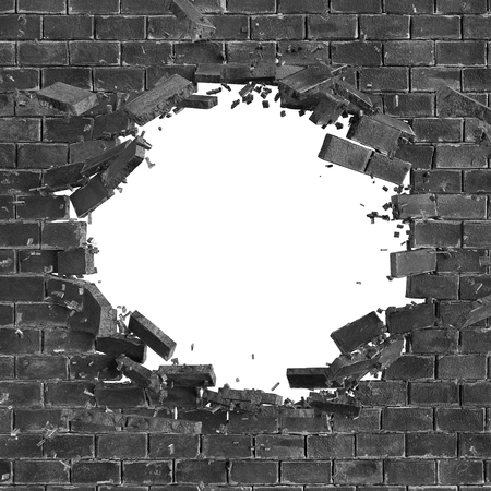 3d black broken brick wall background, hole isolated