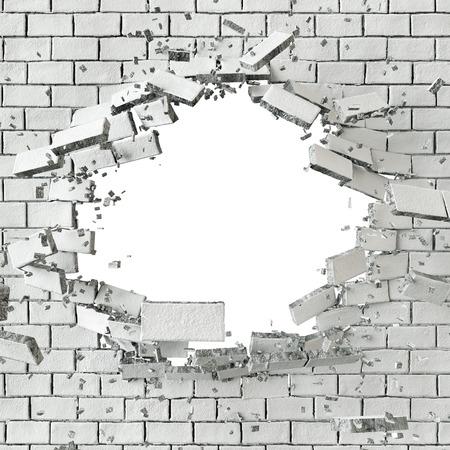 splinter: 3d white broken brick wall background, hole isolated
