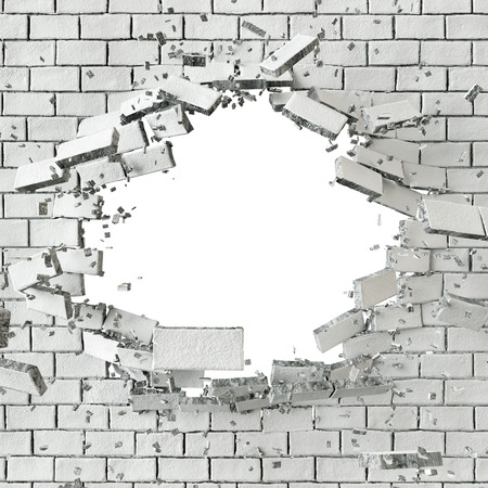 3d white broken brick wall background, hole isolated