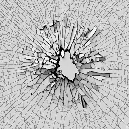 pared rota: 3d fondo de la pared rota, agujero de hormigón aislado Foto de archivo