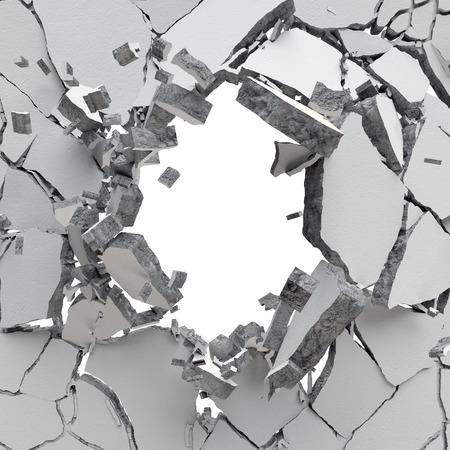 3 d 爆発、ひびの入ったコンクリートの壁、銃弾の穴、破壊、抽象的な背景