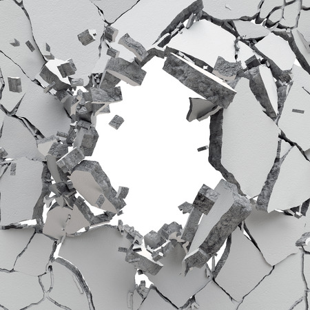 3d explosion, cracked concrete wall, bullet hole, destruction, abstract background
