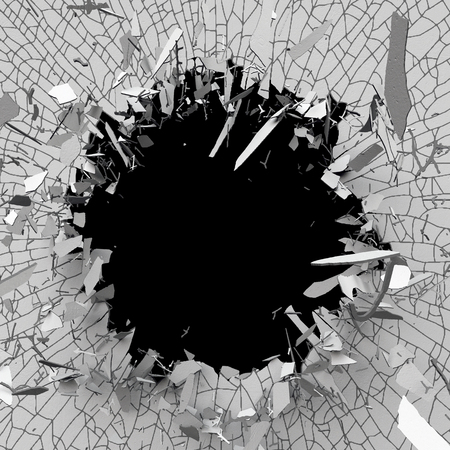 blow hole: 3d illustration, explosion, cracked concrete wall, bullet hole, destruction, abstract background