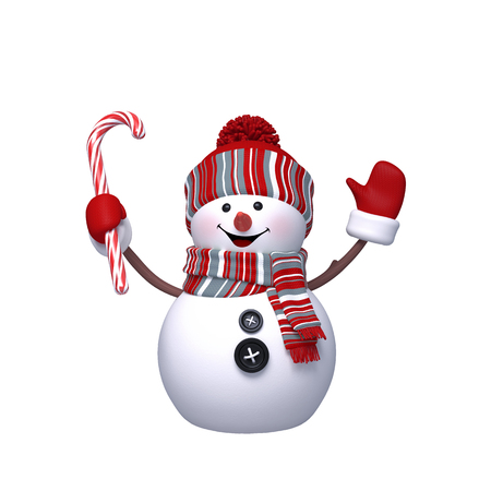 happy christmas: 3d render, digital illustration, happy snowman holding candy cane, Christmas Holiday character, festive greeting card, clip art isolated on white background Stock Photo