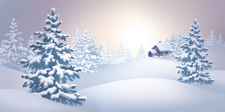 rural house: digital illustration, winter rural landscape, panoramic view, countryside, house, fir trees, forest, Christmas Holiday background, festive greeting card Stock Photo