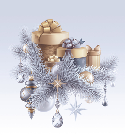 cor: digital illustration, silver christmas tree ornaments, Christmas background, wrapped gift boxes, winter holiday, festive greeting card