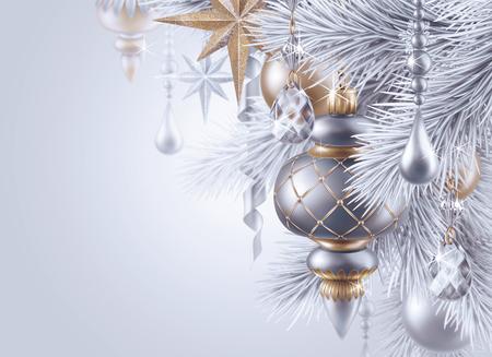 digital illustration, silver christmas tree ornaments, Christmas background, winter holiday, festive greeting card