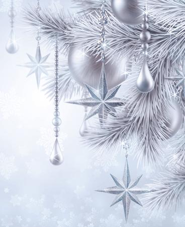 platinum: digital illustration, silver christmas tree ornaments, Christmas background, winter holiday, festive greeting card