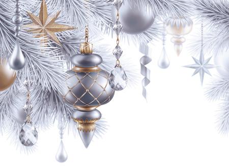 strands: digital illustration, silver christmas tree ornaments, Christmas background, winter holiday, festive greeting card