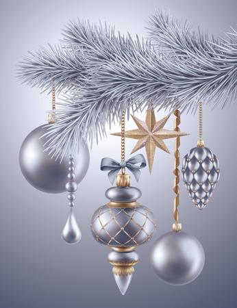 cor: digital illustration, silver christmas tree ornaments, Christmas background, winter holiday, festive greeting card