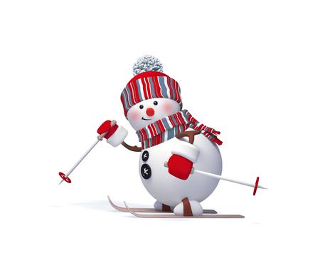 3d übertragen, digitale Illustration, lustiges Schneemannskifahren, die getrennten auf weißem Hintergrund Standard-Bild