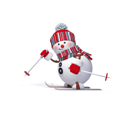 3d render, digital illustration, funny snowman skiing, clip art isolated on white background