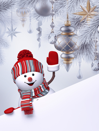 coniferous: 3d snowman, Christmas tree hanging ornaments, greeting card template, blank banner, holiday silver background Stock Photo