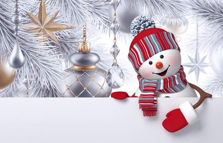 3d muñeco de nieve, adornos de Navidad colgando del árbol, plantilla de tarjeta de felicitación, la bandera en blanco, plata de fondo de vacaciones Foto de archivo - 66295910