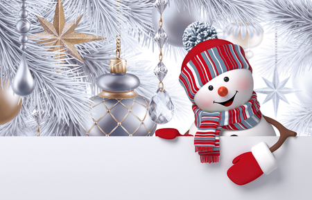 3d snowman, Christmas tree hanging ornaments, greeting card template, blank banner, holiday silver background Standard-Bild