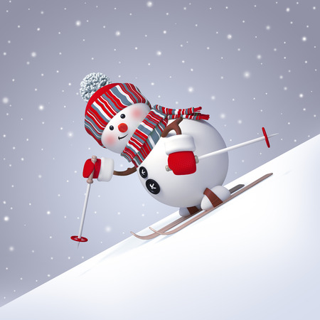 sports activity: 3d render, digital illustration, snowman character skiing down the hill, winter outdoor activity, sports, snowfall, Christmas festive background Stock Photo