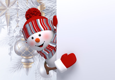 3d happy snowman character behind the wall, looking out the corner, Christmas tree, hanging ornaments, balls, winter holidays, silver background, greeting card template