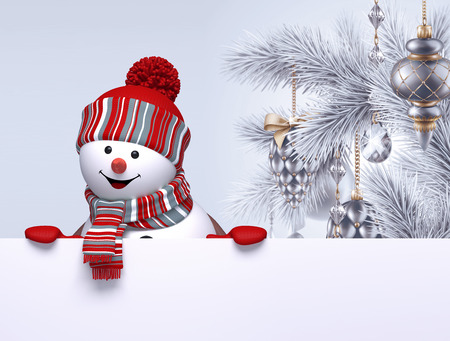 3d snowman, Christmas tree hanging ornaments, greeting card template, blank banner, holiday silver background Stock Photo